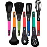HULLR 7-Piece Kitchen Utensils Cooking Set - Spaghetti Server, Egg Whisk, Turner, Server, Soup Ladle, Solid & Slotted Spoon.