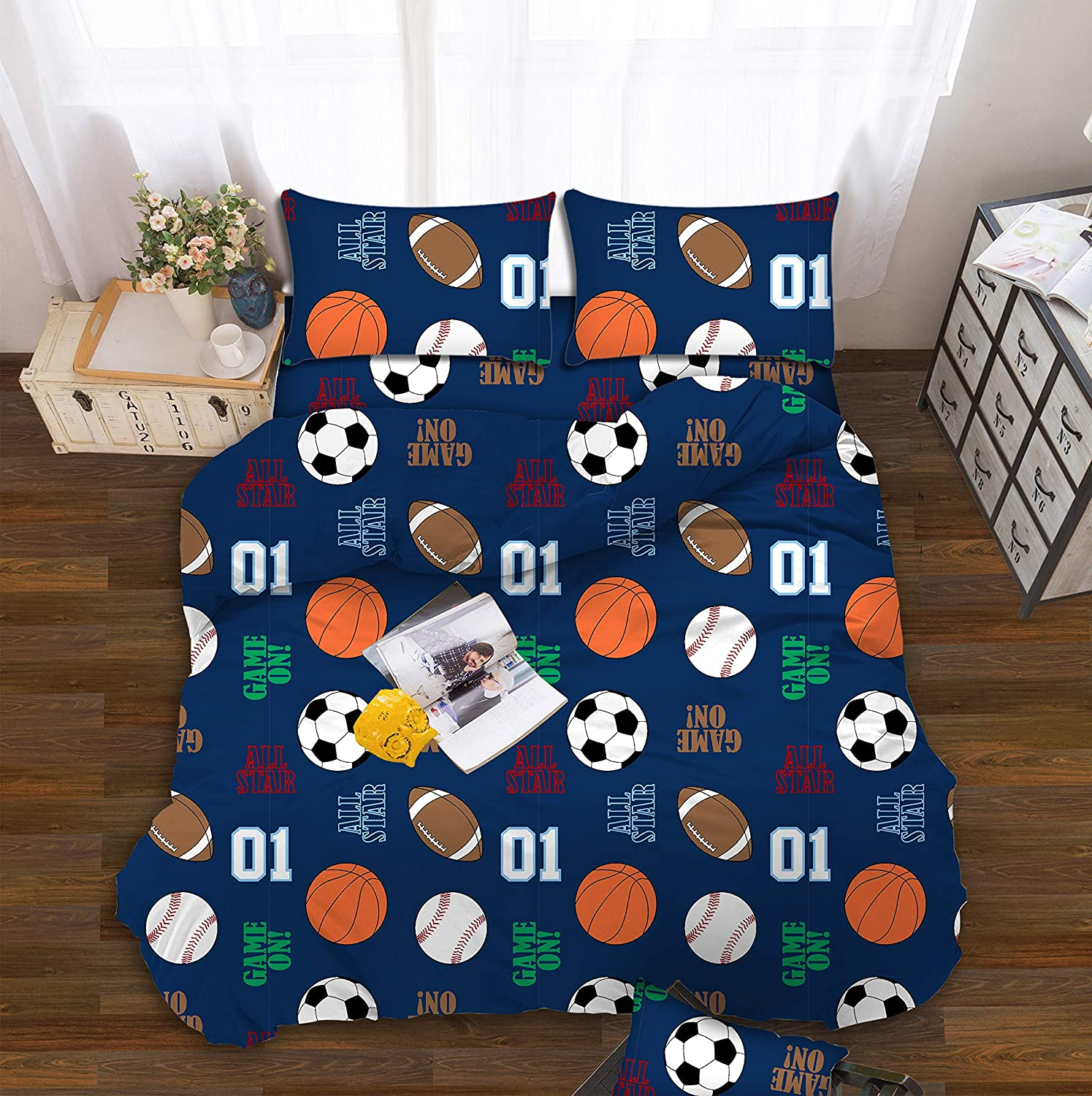All American Collection Kids Boys Girls Teens Children Soft Comfortable Printed Fitted Flat Bedroom Bed Sheet Set (Twin, Dark Blue Sports)