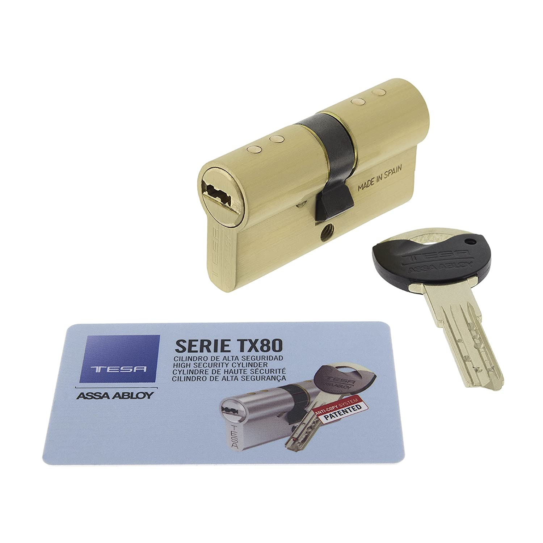 Tesa Assa Abloy, TX853535L, Cilindro de seguridad TX80 de leva larga, Latonado, 35x35 mm: Amazon.es: Bricolaje y herramientas