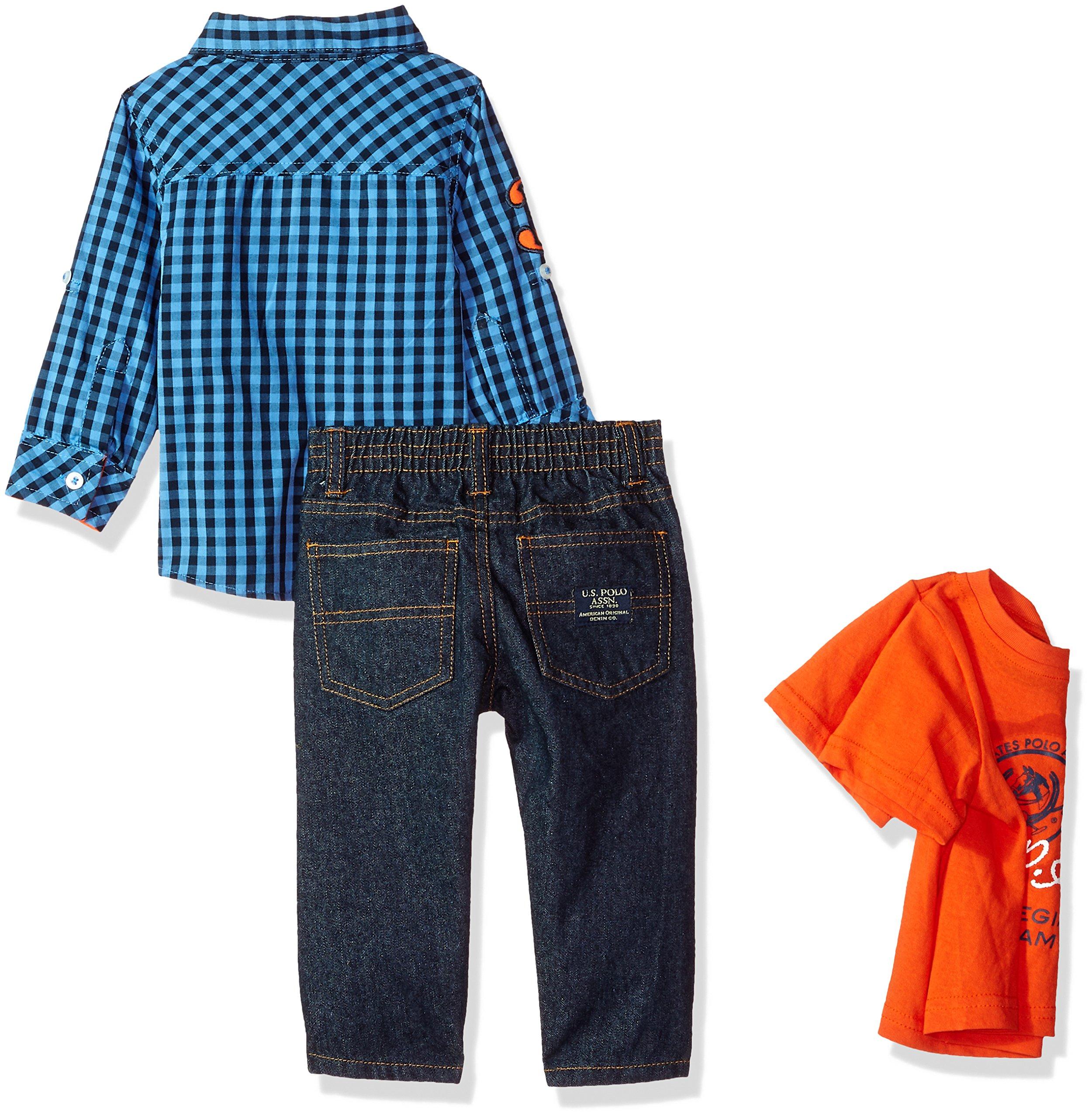 US Polo Assn 3pcs Outfit Set Plaid Long Sleeves Shirt /& Denim Pants Boys Outfit