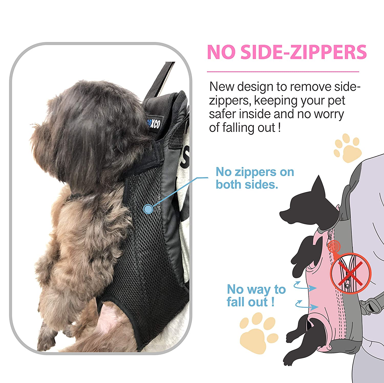 Legs Out Adjustable Dog Carrier Front Pack Safe for Hiking Camping Traveling for Medium Small Dogs GAXCO Pet Carrier Backpack No Zipper Dog Backpack Carrier