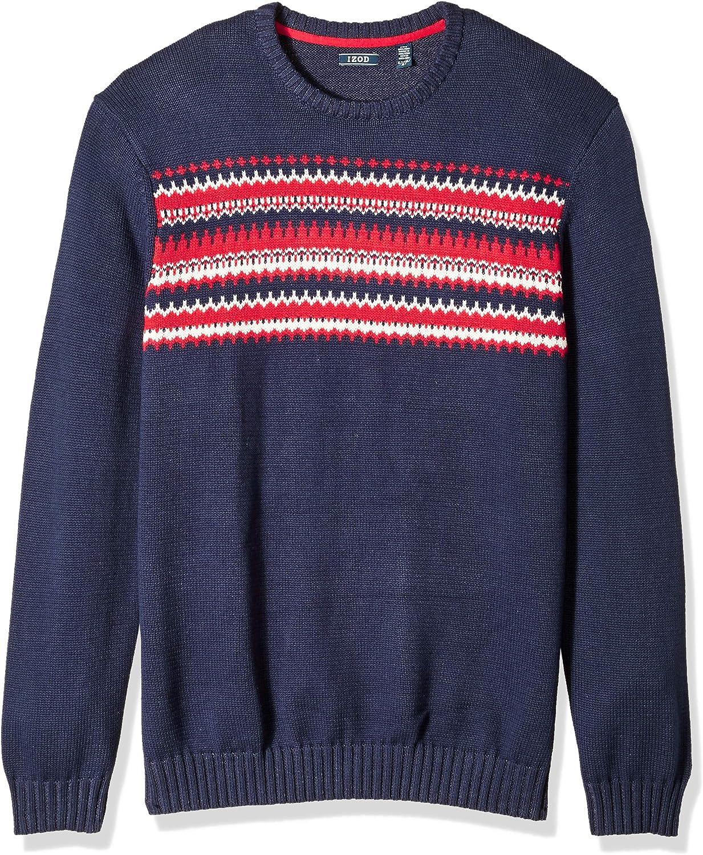 IZOD Mens Big and Tall Fairisle 5 Gauge Crewneck Sweater