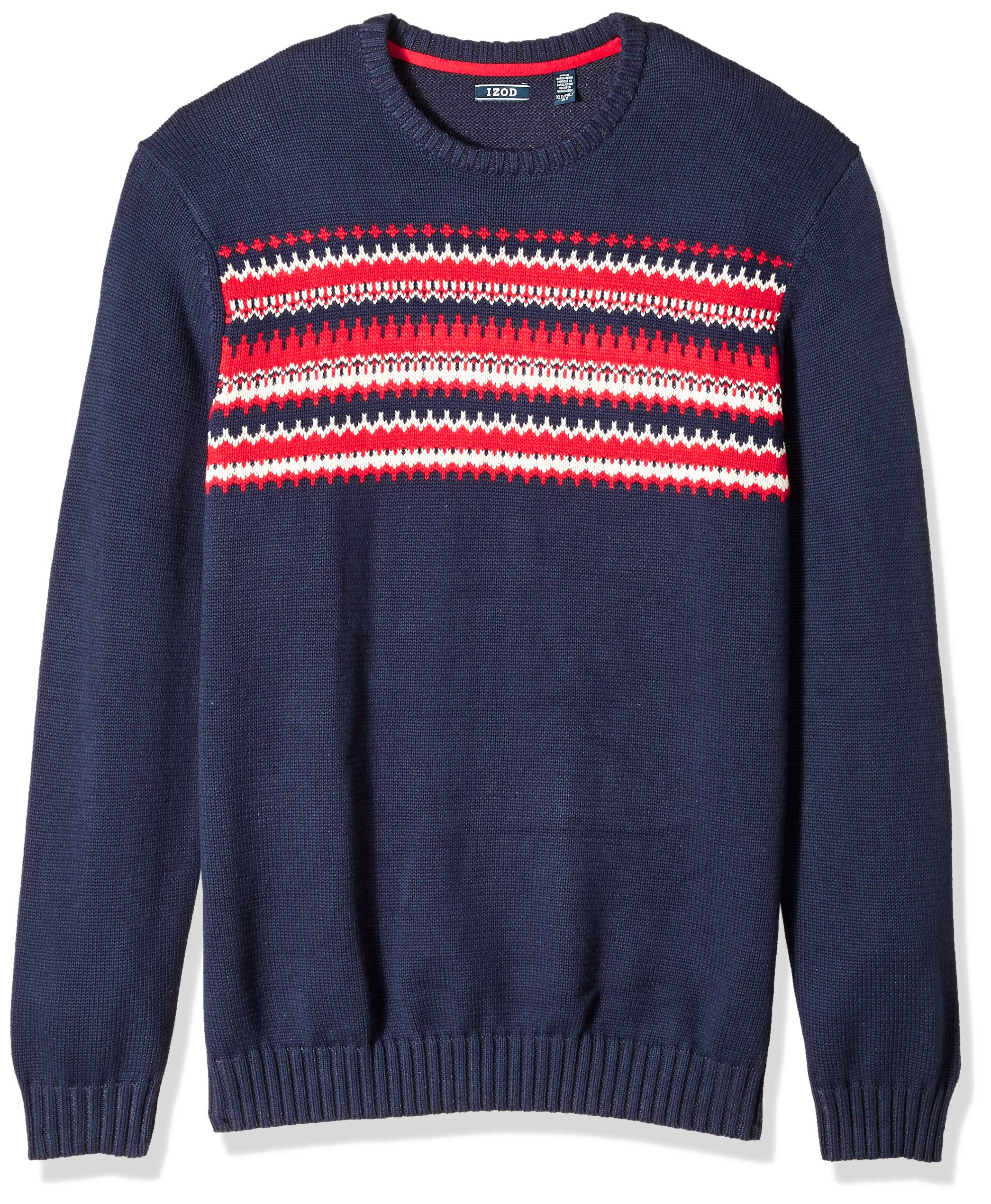 IZOD Men's Big and Tall Fairisle 5 Gauge Crewneck Sweater, Peacoat, 3X-Large