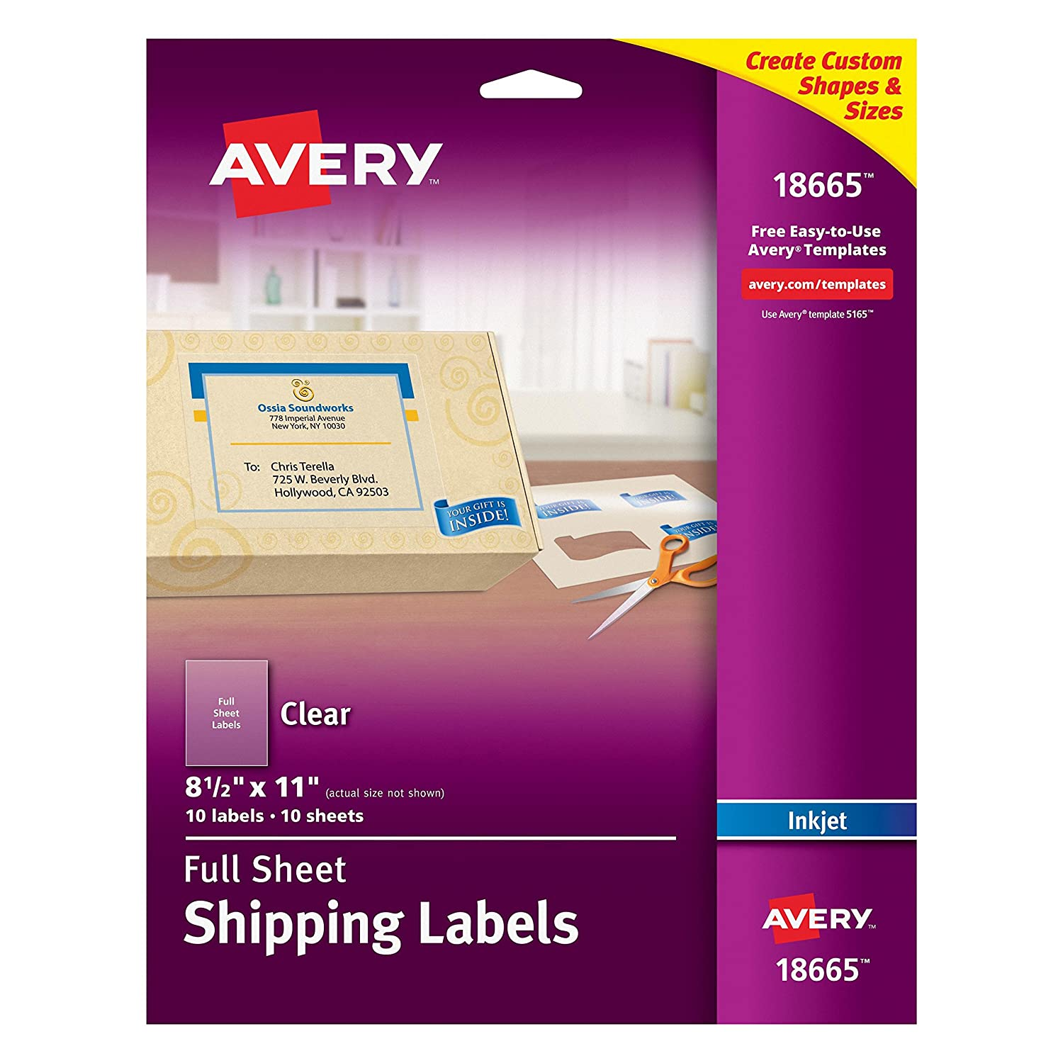 Amazon avery clear full sheet shipping labels for inkjet amazon avery clear full sheet shipping labels for inkjet printers 8 12 x 11 pack of 10 18665 address labels office products robcynllc Images