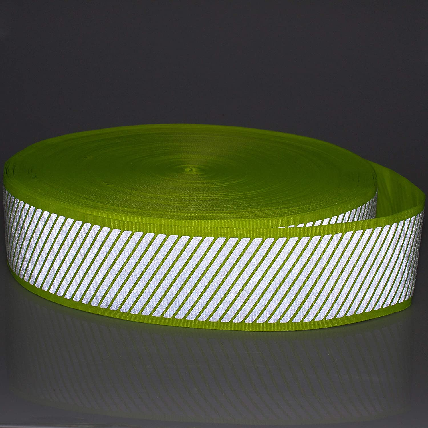 High Visibility Stripe Reflective Fabric Tape Green Webbing Ribbon Sewing On to Clothes 2 x 16.5ft W33