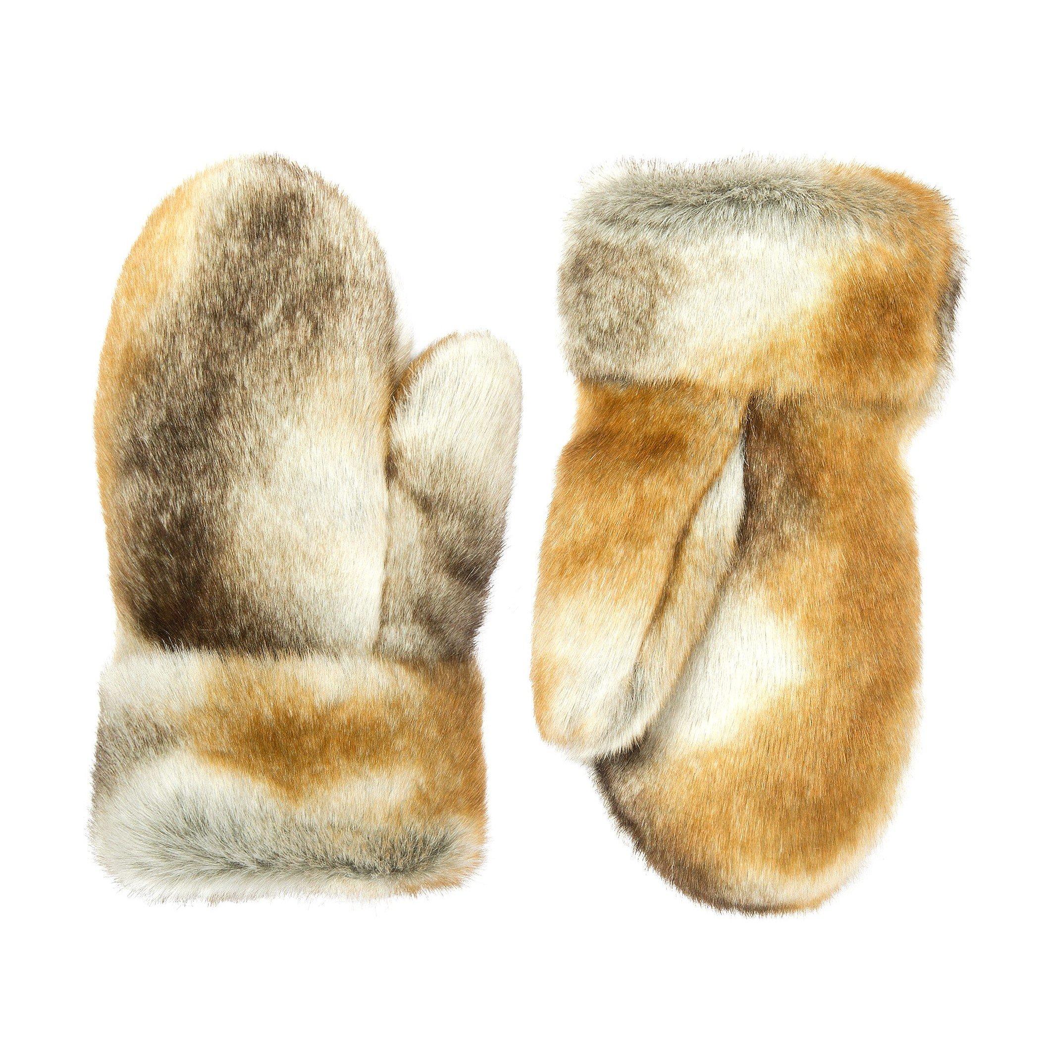 Futrzane Winter Gloves Women Men Mittens Made Of Rabbit Faux Fur (Chinchilla)