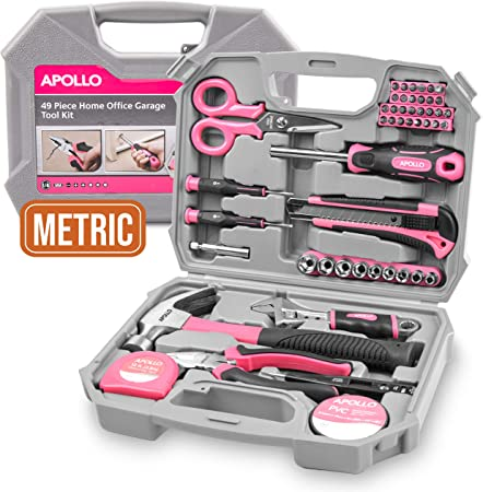 Entretien Domestique Apollo Kit Rose dOutil 170 pi/èces pour Madame avec B/îote Portable Outil Pink Durable pour M/énager Bricolage