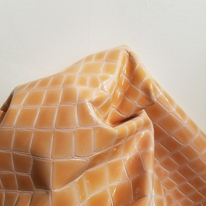 Pale Yellow Patentクロコダイルクロコ2.5 OzソフトUpholstery Chap Craftハンドバッグ牛革本革Cow HideスキンNat Leathers 15-18 sq.ft オレンジ orptaten1518 B077MSFGXK Pale Orange Peach 15-18 sq.ft