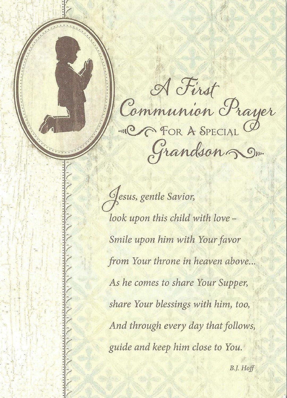 Una primera Comunión oración para un especial Nieto Tarjeta ...