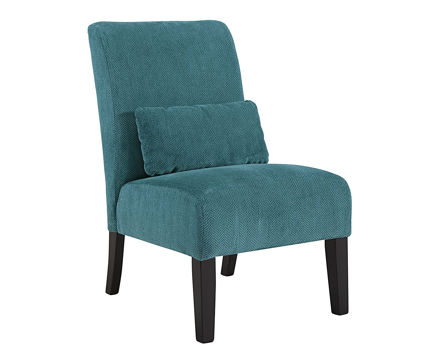 Amazon.com: Anora Fabric Armless Contemporary Accent Chair; Teal ...