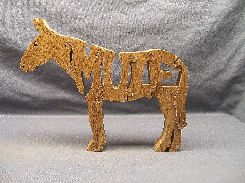 Handmade Wooden Woodimal Horse//Mule Puzzle