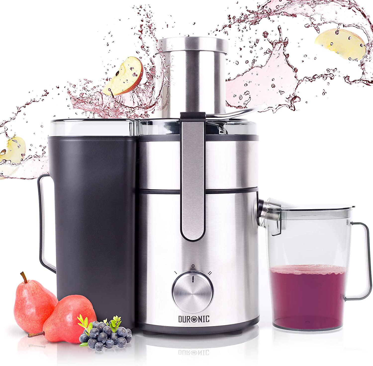 Duronic Juicer JE10 Whole Fruit and Vegetable Juicer Powerful 1000W Large Feeding Tube Centrifugal Power Juicer Machine