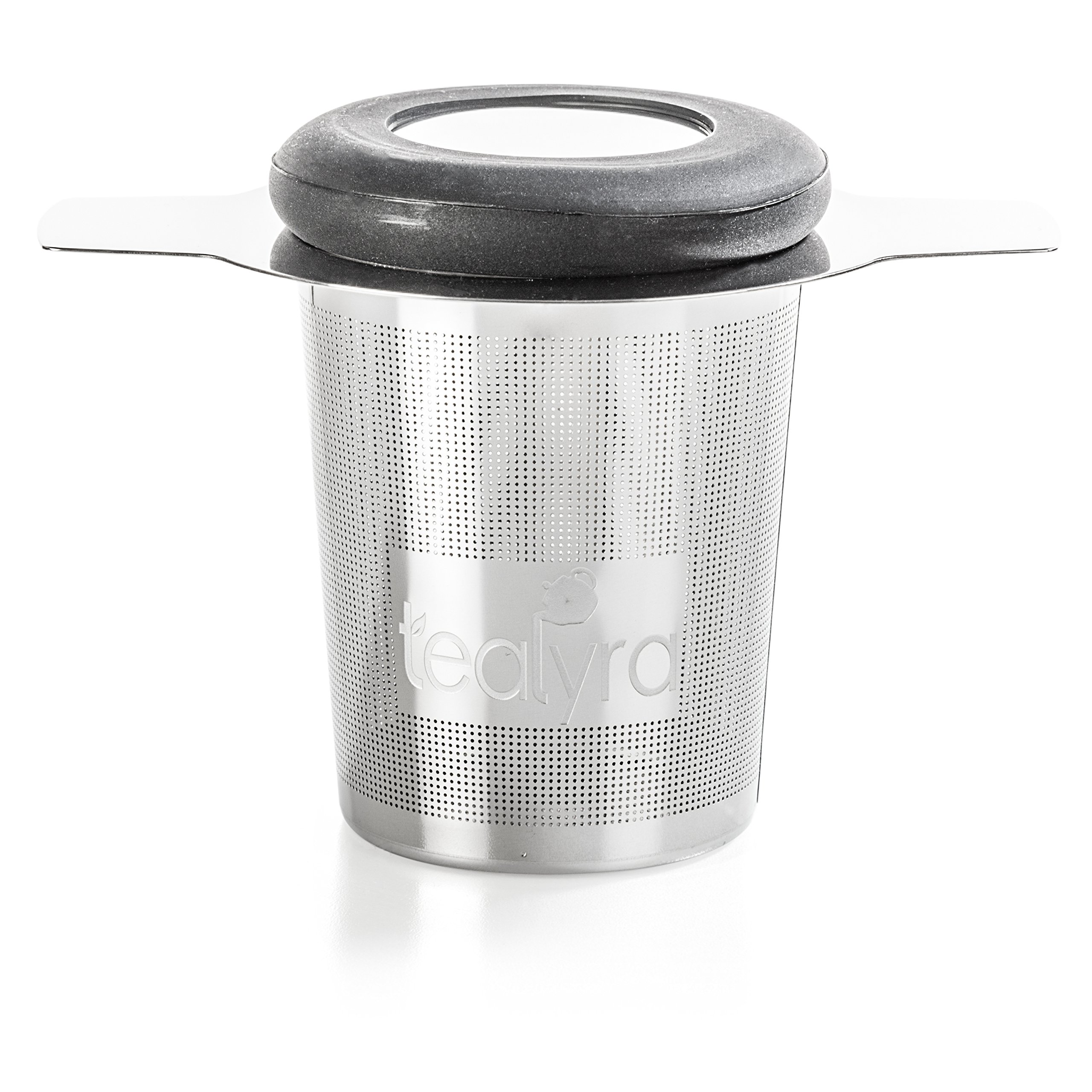 Tealyra - brewiTEA - Brew-In-Mug Tea Infuser Mesh Strainer with Metal Dish - Large Capacity and Perfect Size for Hanging on Teapots - Mugs - Cups - To Steep Loose Leaf Tea and Coffee by Tealyra (Image #1)
