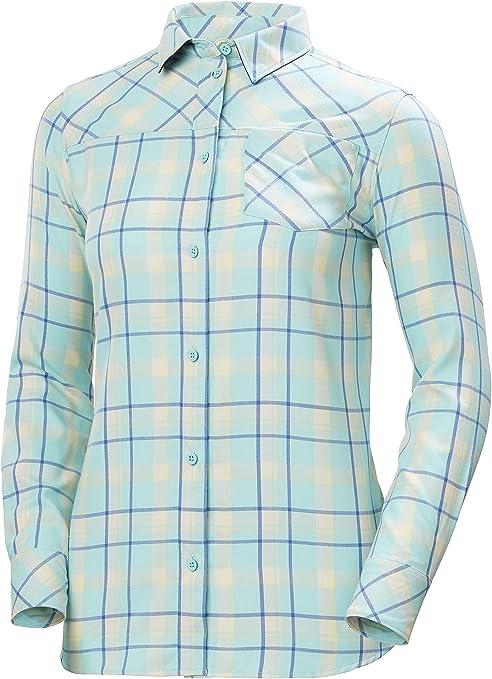 Helly Hansen Lokka - Camiseta de Manga Larga para Mujer, Mujer, 62875, Glacier Blue Check, Extra-Large: Amazon.es: Deportes y aire libre