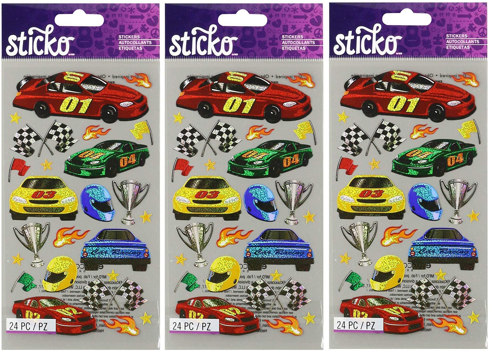 Sticko 52-00708 Race Cars, Multicolor (Тhrее Pаck)