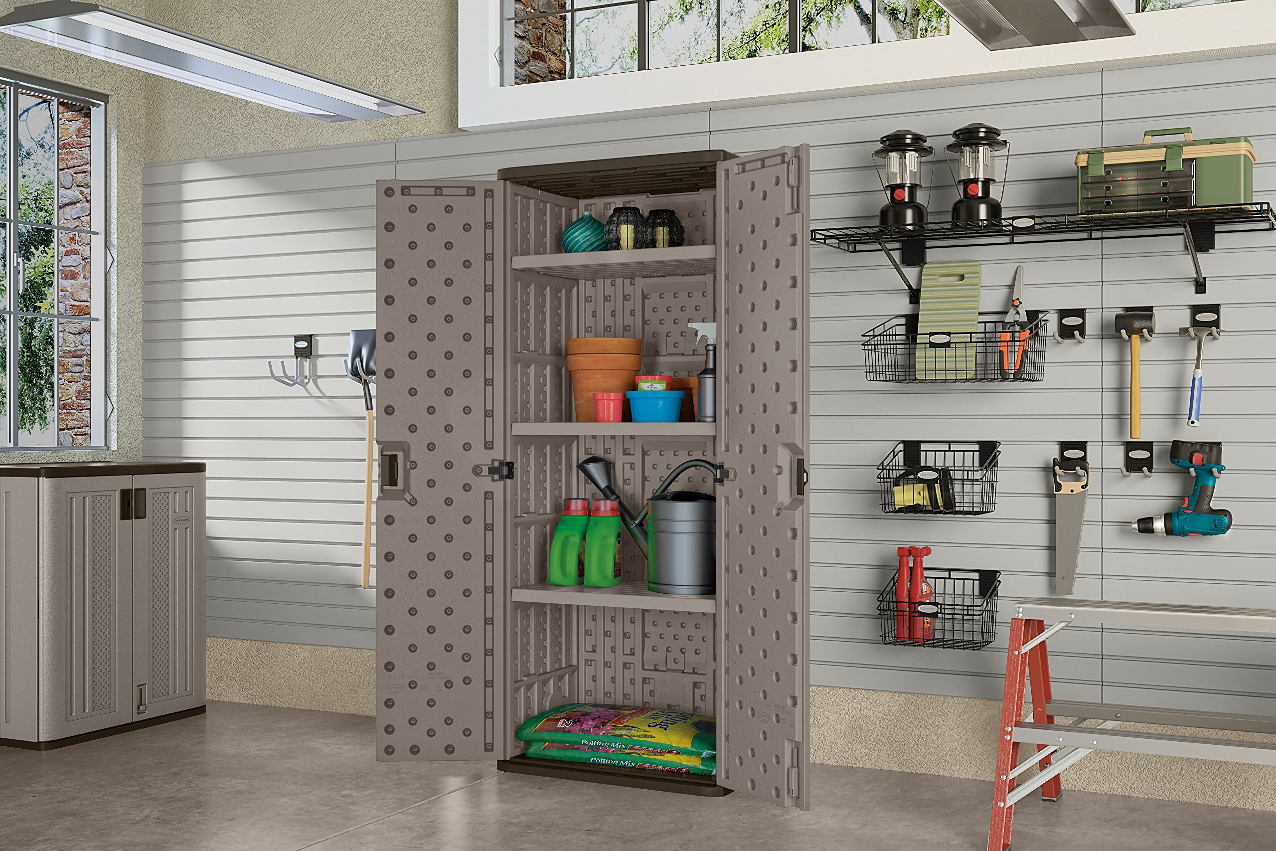 Suncast Tall Storage Cabinet, Platinum