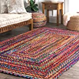 Chopra International Hand Braided Colorful Cotton Rug, Multicolor, Boho Look for Bedroom Living Room Drawing Room, Vibrant Fabric Rags (4 x 6 Feet, Rectangular)