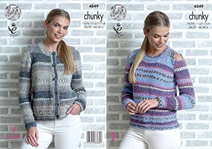 aece216a7a324 Image Unavailable. Image not available for. Color  King Cole Womens Chunky  Knitting Pattern Ladies Cardigan ...