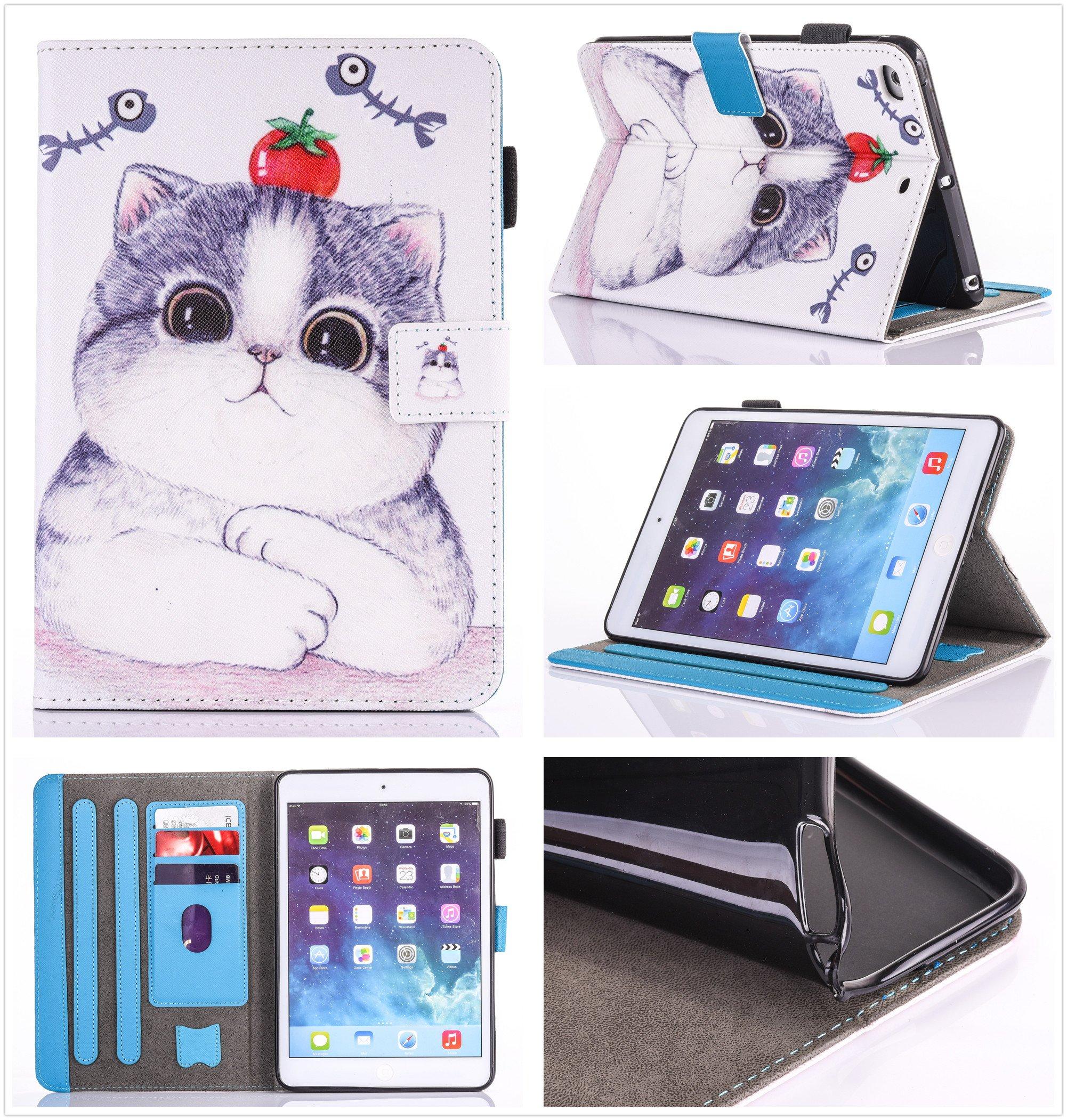 iPad Air 2/iPad Air/iPad 9.7 inch 2017 Case, PU Leather Folio [Anti-Slip] Cover with [Magnetic Closure] [Cards Slots] Auto Sleep/Wake for Apple iPad 9.7 2017/iPad Air 1&2 (iPad 5&6), Sketch Cat by Wallace Elec (Image #1)