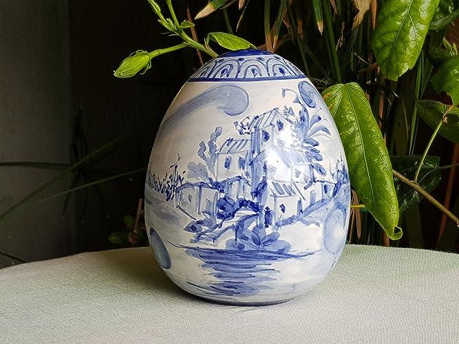 Uova Di Ceramica Dipinte A Mano.Uovo In Ceramica Siciliana Decorato A Mano Con Paesaggio Blu