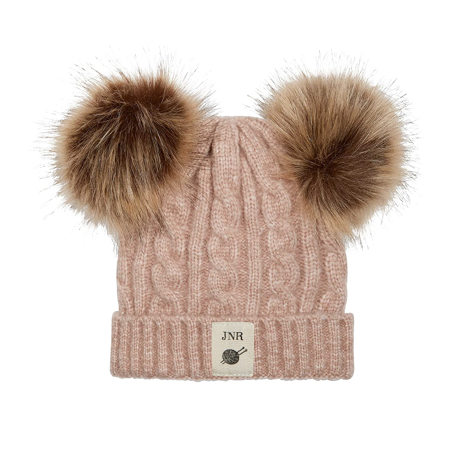 Aran Traditions Kids Cable Knit Faux Fur Double Pom Pom Hat 3-6 Years