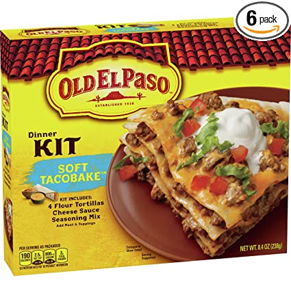 Amazon Com Old El Paso Soft Taco Bake Dinner Kit 8 4 Oz Box Pack Of 6 Taco Shells Grocery Gourmet Food