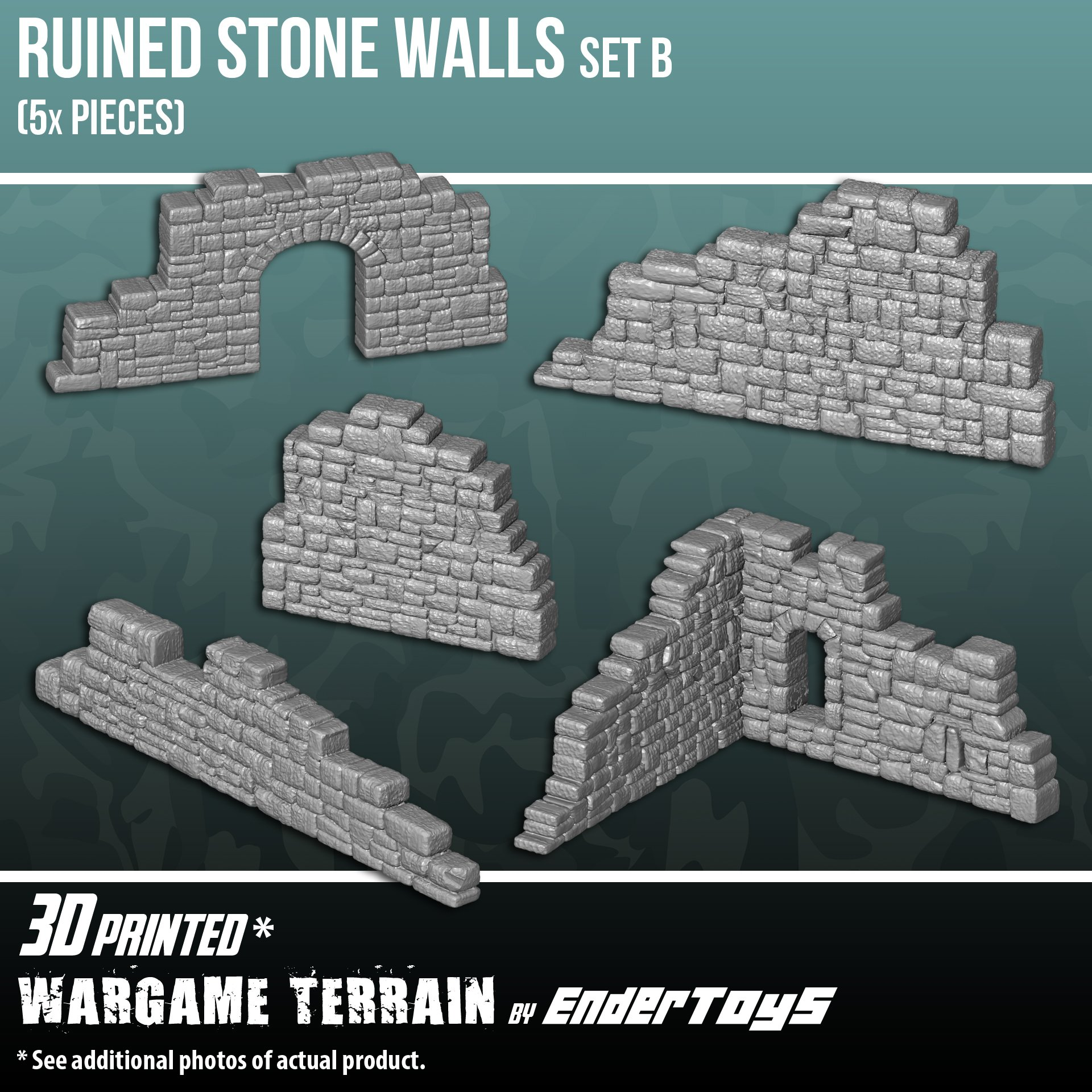 Ruined Stone Walls Set B, Terrain Scenery for Tabletop 28mm Miniatures Wargame, 3D Printed and Paintable, EnderToys