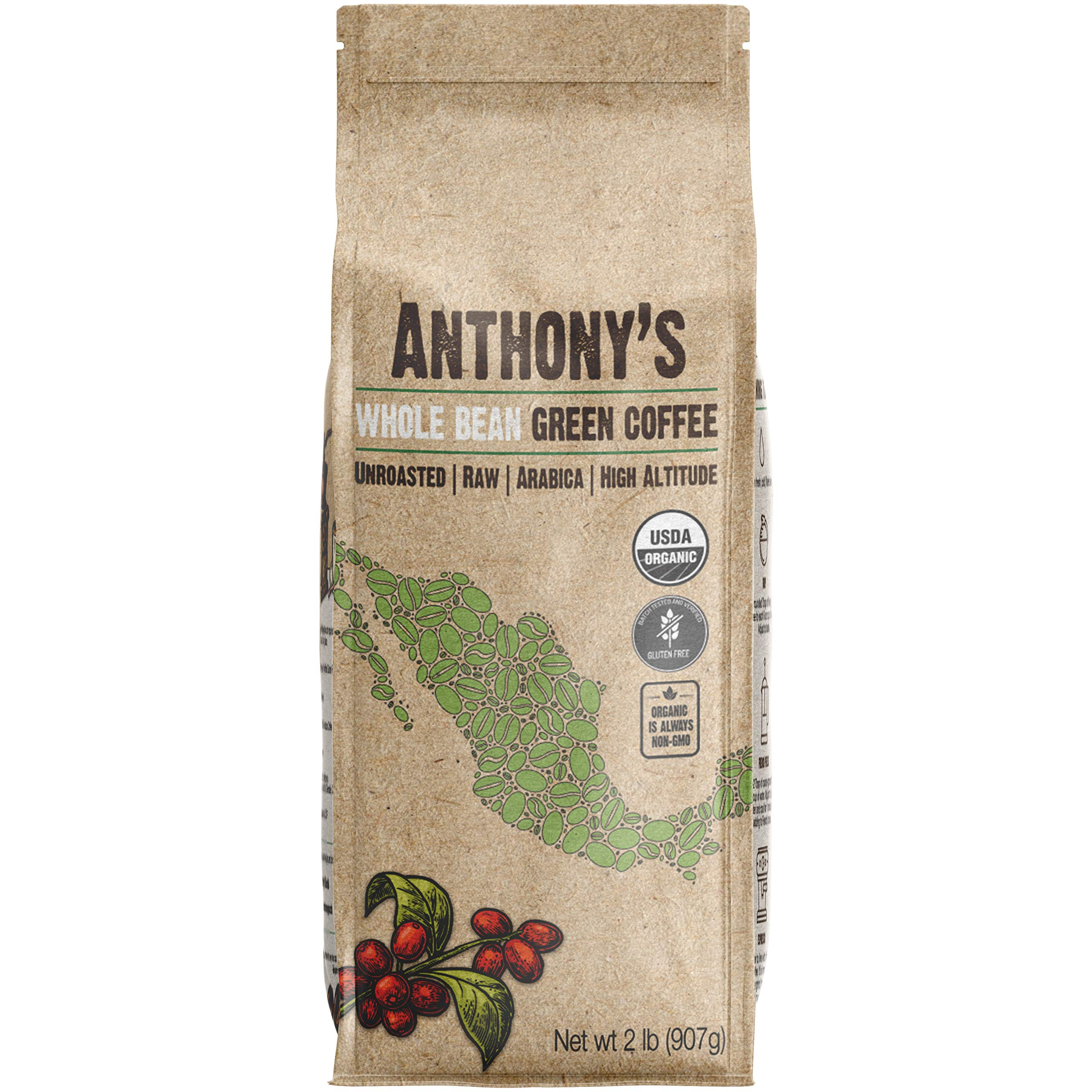 Anthony's Organic Unroasted Whole Green Coffee Beans, 2lbs, Mexican Altura Arabica Beans, Raw, Batch Tested and Gluten Free by Anthony's