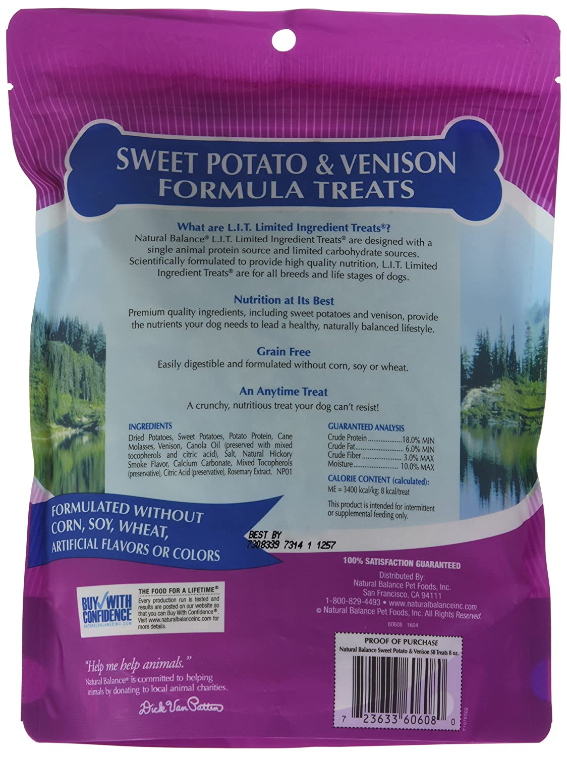 Natural Balance Limited Ingredient Dog Treats – L.I.T. Sweet Potato Venison Formula – 8oz Pack of 2