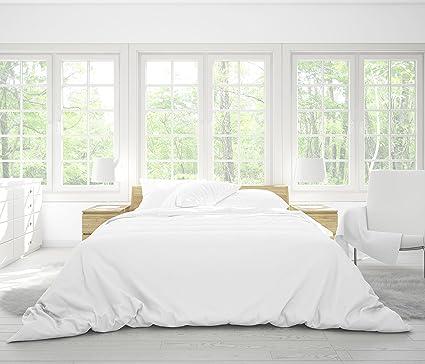 Juego de ropa de cama de bambú de lujo en blanco nieve, sábanas de bambú
