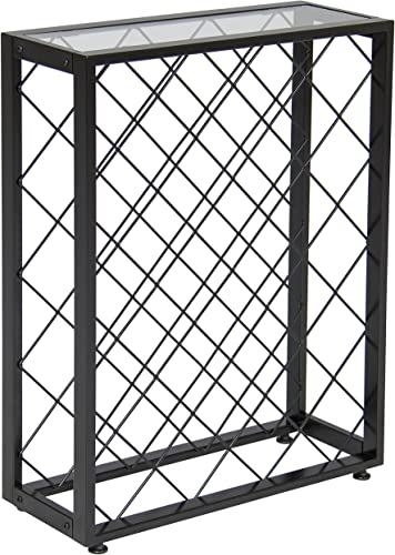 Best Choice Products 32-Bottle Wine Rack Liquor Storage Cabinet w/Glass Table Top
