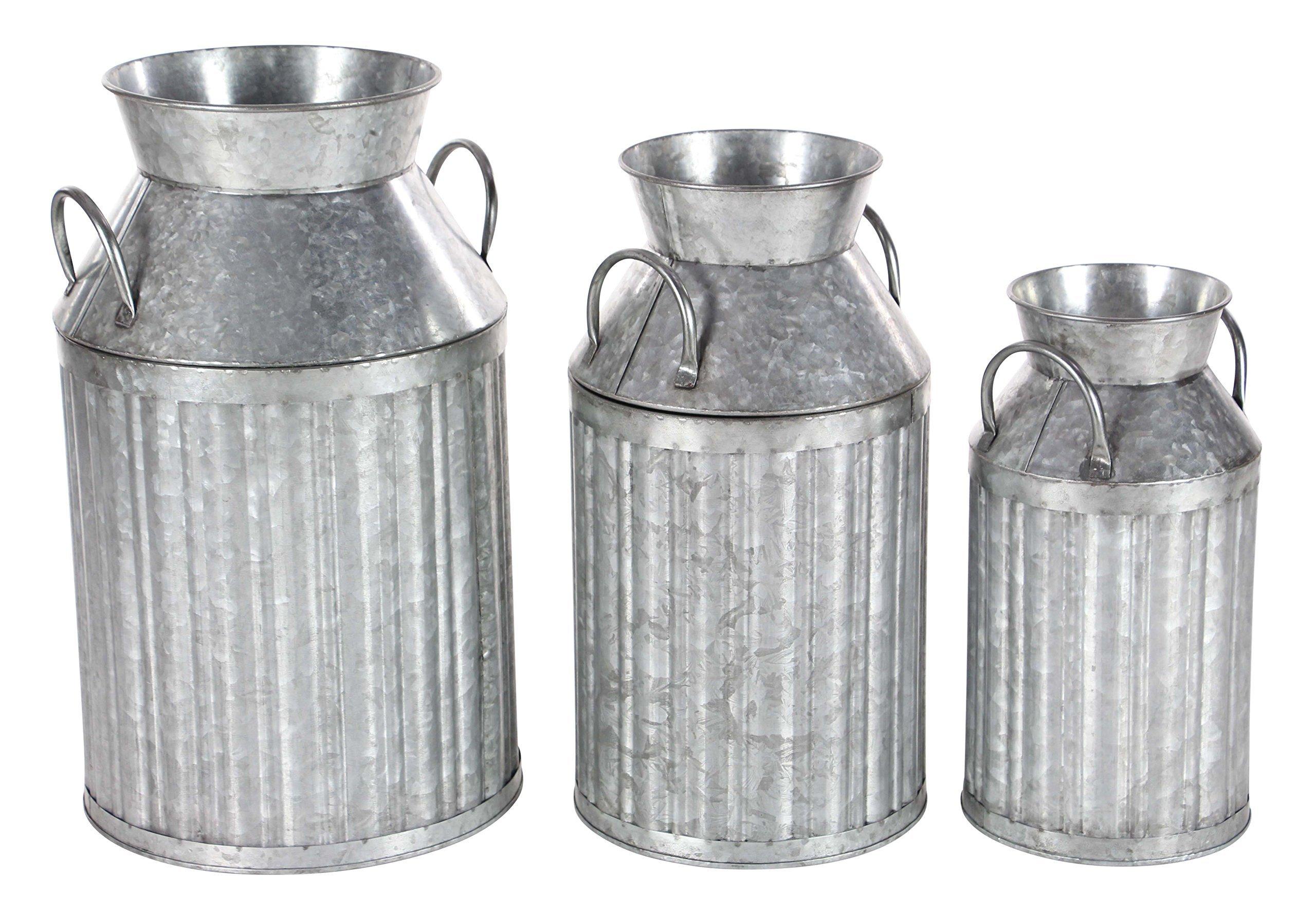 Deco 79 98145 Iron Milk Jugs (Set of 3) 13'' x 17'' x 19'' Gray by Deco 79