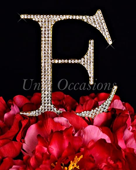 Unik Occasions Collection Crystal Rhinestone Letter-E Wedding Cake Topper Small Gold