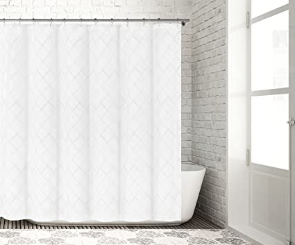 Bathroom And More Collection SHEER White Fabric Shower Curtain With Embroidered Metallic Silver Moroccan Trellis Design