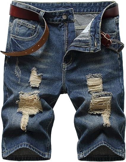Litteking Mens Ripped Jean Shorts Casual Distressed Denim Shorts Summer Short Pants with Pockets