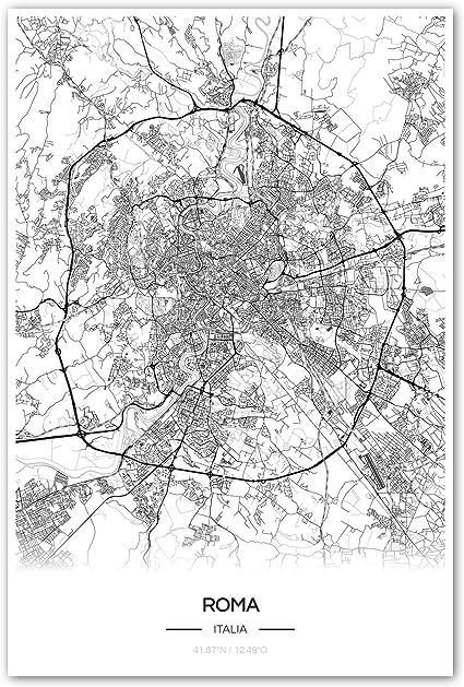 Cartina Citta Roma.Zulumaps Poster 40x60cm Mappa Della Citta Roma Stampa Artistica Di Alta Qualita Amazon It Casa E Cucina