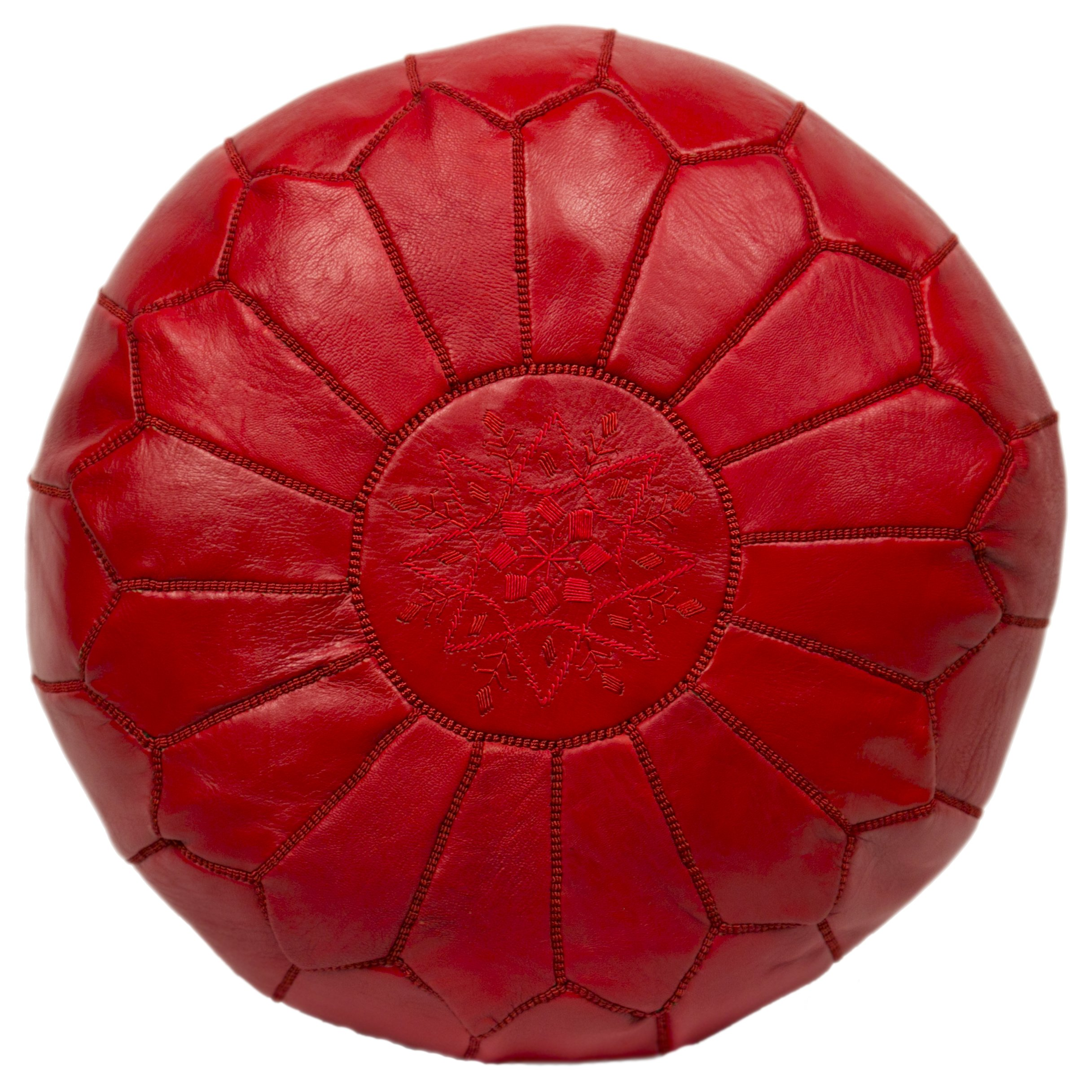 Casablanca Market Moroccan Embroidered Cotton Stuffed Leather Pouf/Ottoman, Red