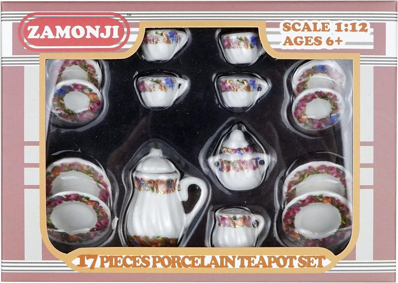 2x Casa De Muñecas En Miniatura De Punto Rojo Diseño De Cerámica Taza de té y platillos