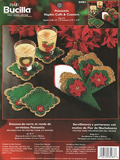 Amazon.com: Bucilla Poinsettia Napkin Cuffs & Coasters Felt Applique ...