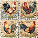 CounterArt Set of 4 Assorted Tumbled Tile Coasters, Roosters and Flowers
