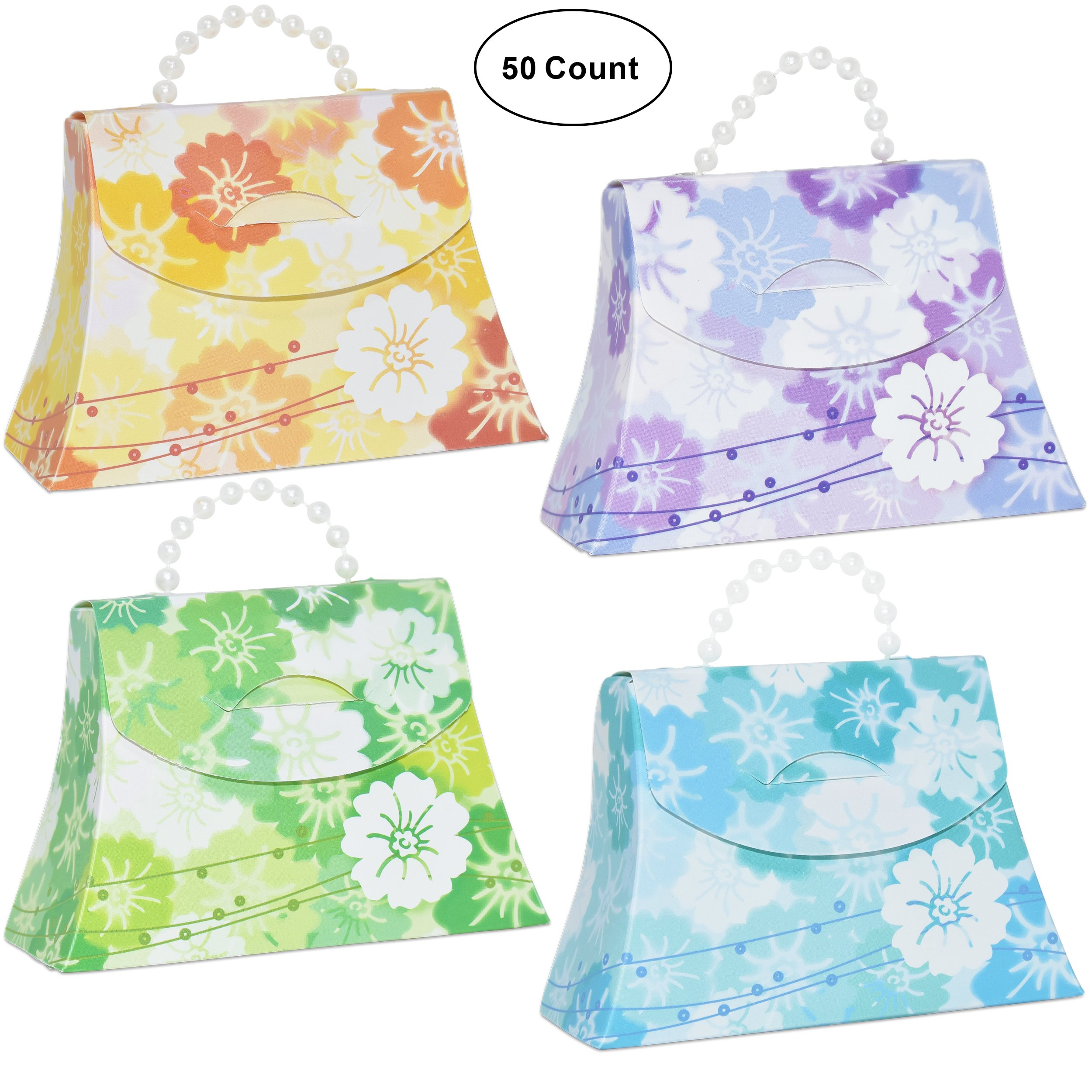 50 Flower Favor Bag Purse Boxes Craft Kit with Pearl Bead Handle Floral Design Guest Candy Goodie Treat Bags Party Supplies Decorations for Wedding Reception Birthday Celebration Baby & Bridal Shower by Gift Boutique