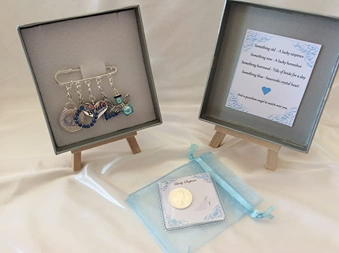 Something Blue Crystal Horse Shoe /& Letter Bride Gift Garter Clip On Charm