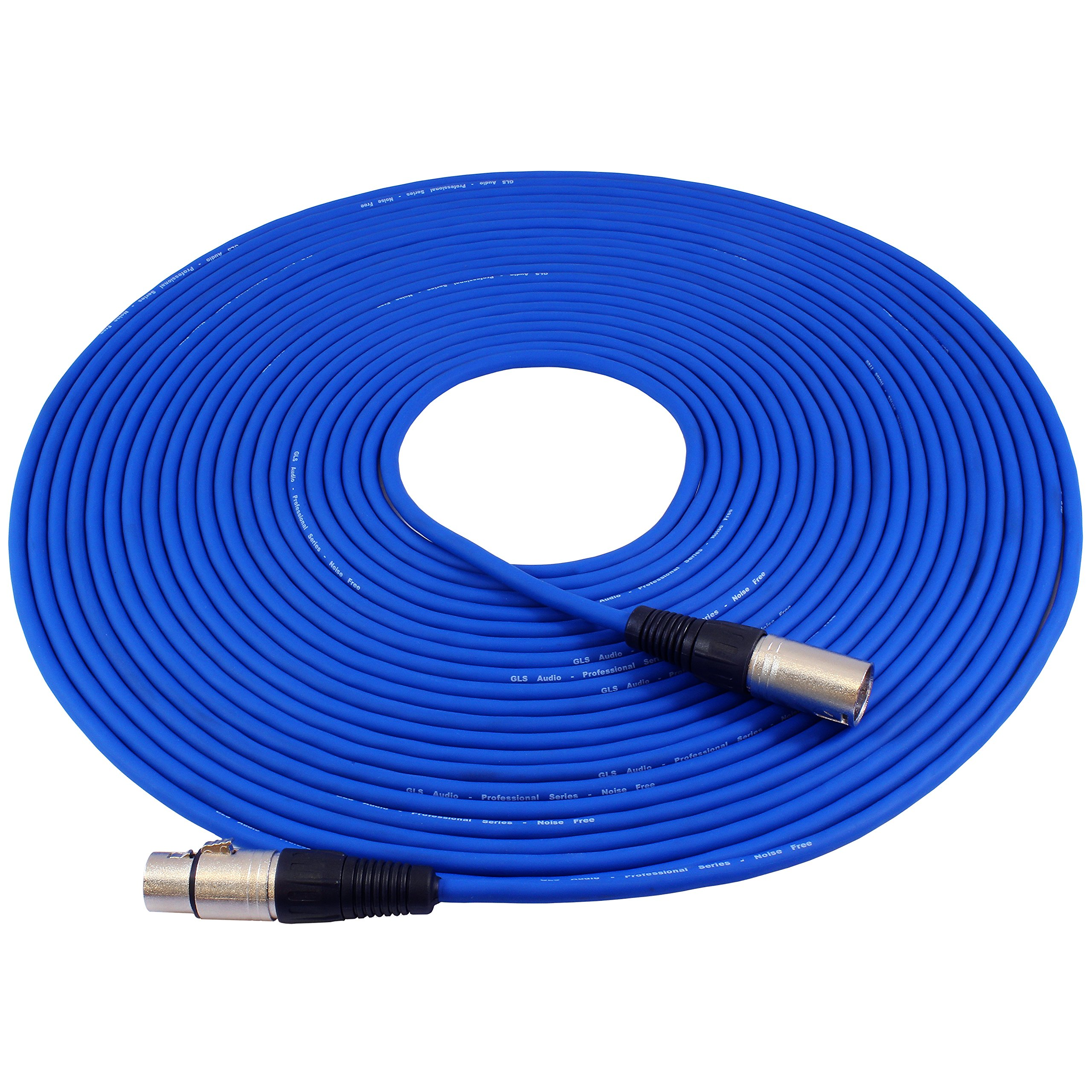 GLS Audio 50ft Mic Cable Patch Cord - XLR Male to XLR Female Blue Microphone Cable - 50' Balanced Mike Snake Cord