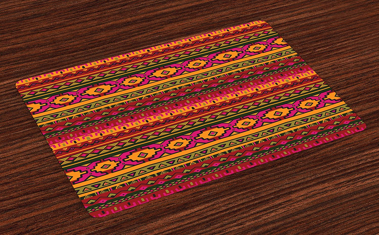 Lunarable Aztec Place Mats Set of 4, South American Abstract Borders Mexican Peruvian Folk Art Elements Boho Doodle, Washable Fabric Placemats for Dining Room Kitchen Table Decor, Pink Green Orange