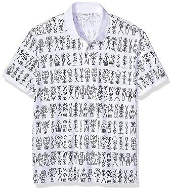 67ce82c5e Lacoste Men s Short Sleeve Graphic Pique All Over Print Slim Polo ...