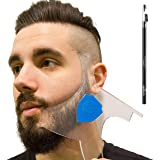 Aberlite Beard Shaper Kit w/Barber Pencil - Premium Shaping Tool - 100% Clear | Many Styles | Long Edges | - The Ultimate Beard/hair Lineup Tool (US Patent) - Beard Stencil Guide Template