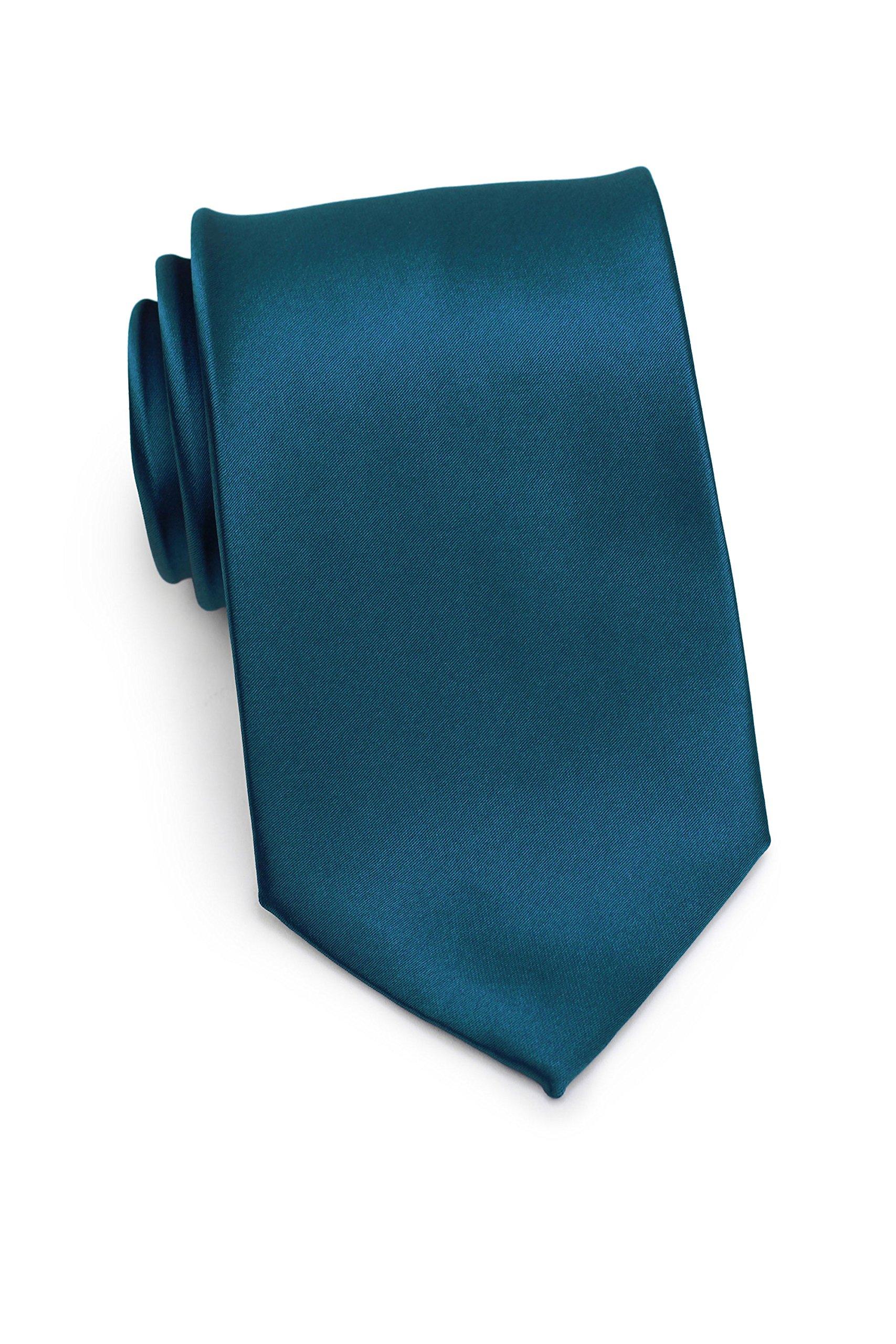 Bows-N-Ties Men's Necktie Solid Color Microfiber Satin Tie 3.25 Inches (Dark Teal)