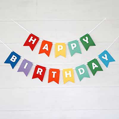 Decomod Premium Layered Felt Happy Birthday Banner Bunting Laser Cut 60 inches Wide - Rainbow Flags: Toys & Games