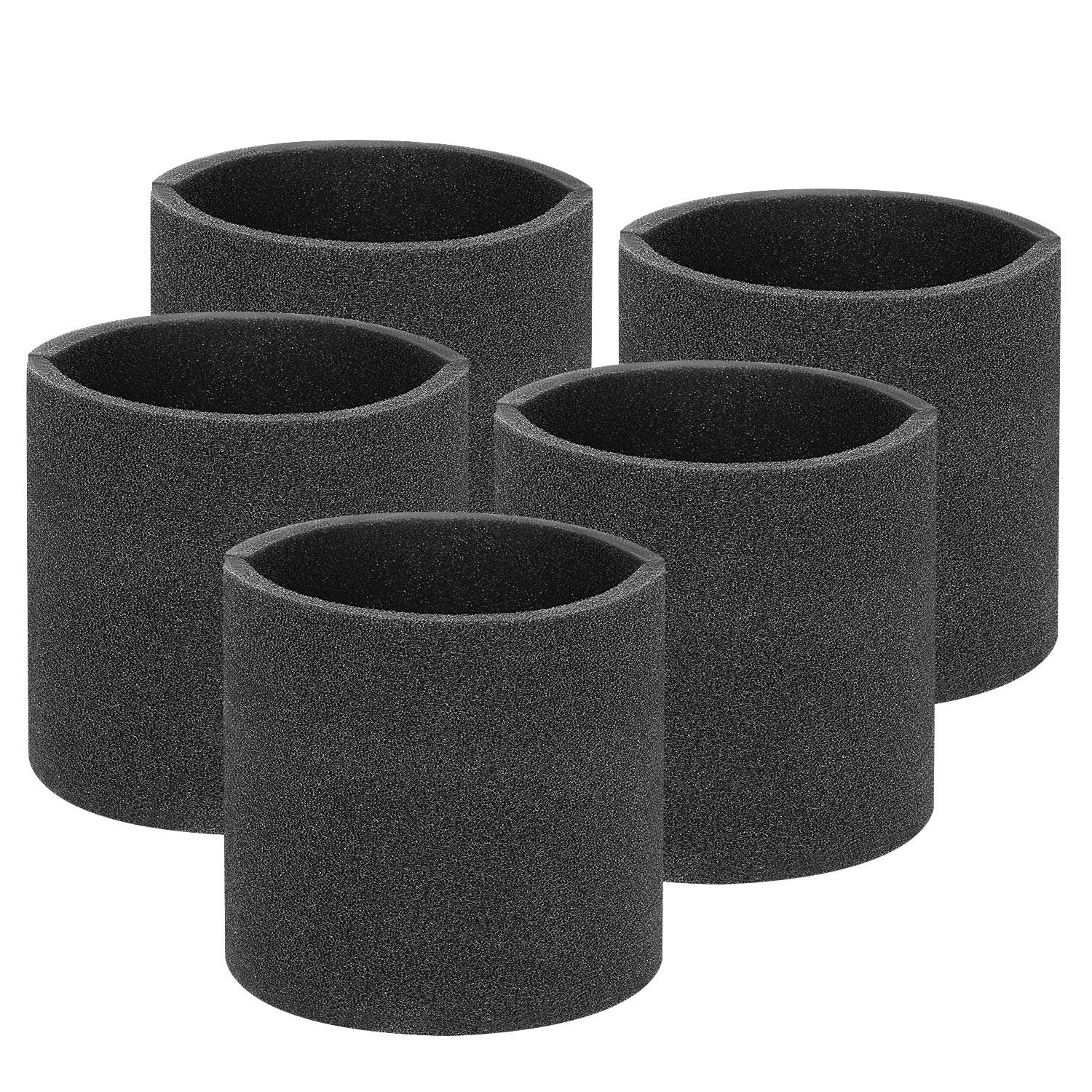 Isingo 5 Pack Foam Sleeve Filter Compatible Most Shop-Vac Brand Wet Dry Vacuums 5 Gallon and Above, Compare to Part # 90585 & 9058500 Type R by Isingo