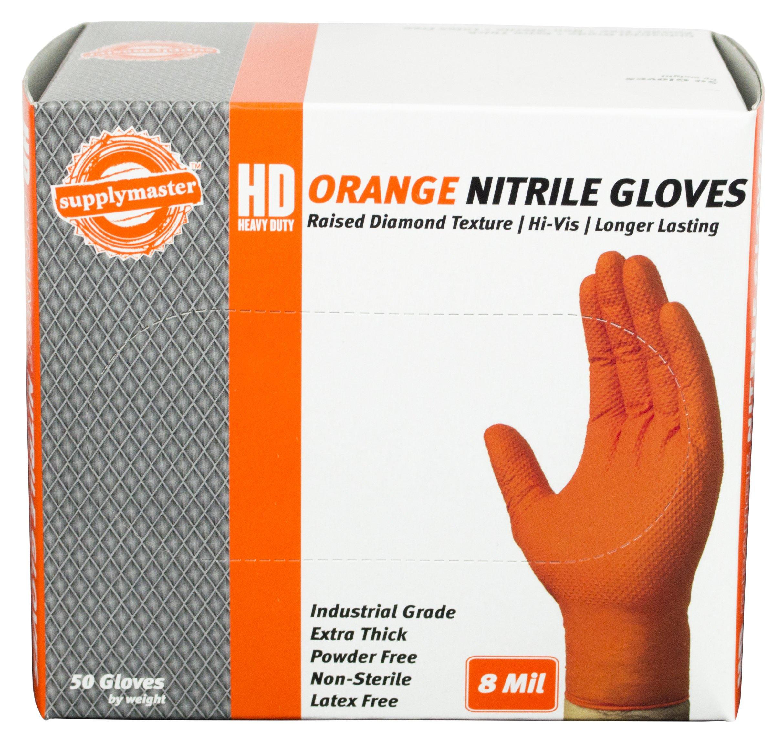 SupplyMaster - SMDTON8M - Diamond Texture Nitrile Gloves - Disposable, Powder Free, Industrial, 8 mil, Medium, Orange (Case of 200) by SupplyMaster (Image #4)